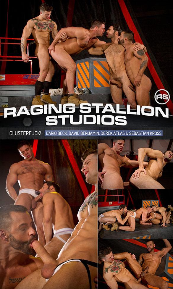 "Raging Stallion: Dario Beck, David Benjamin, Derek Atlas and Sebastian Kross in ""Clusterfuck!"""