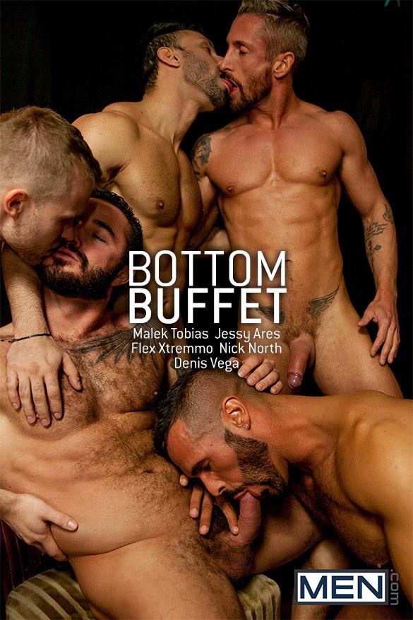"Men.com: Jessy Ares, Flex Xtremmo, Denis Vega, Malek Tobias and Nick North in ""Bottom Buffet"""