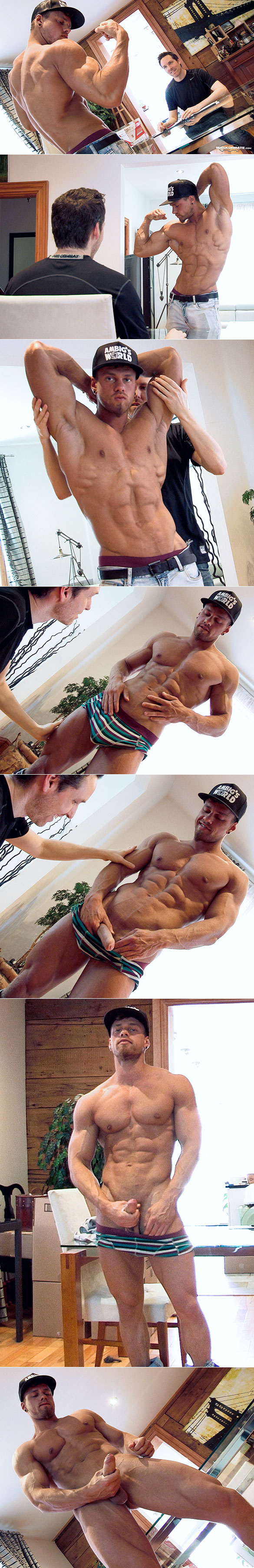 """Maskurbate: Big-dicked bodybuilder Brad rubs one out in """"Moving Muscles"""""""