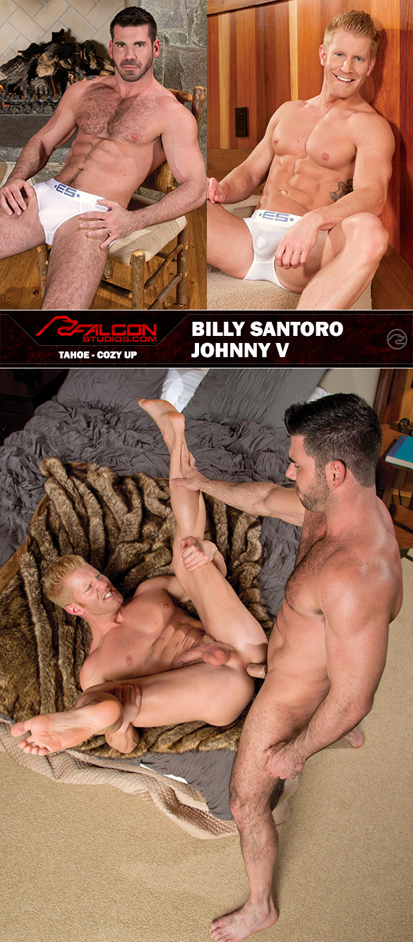 """Falcon Studios: Johnny V and Billy Santoro pound each other in """"Tahoe - Cozy Up"""""""