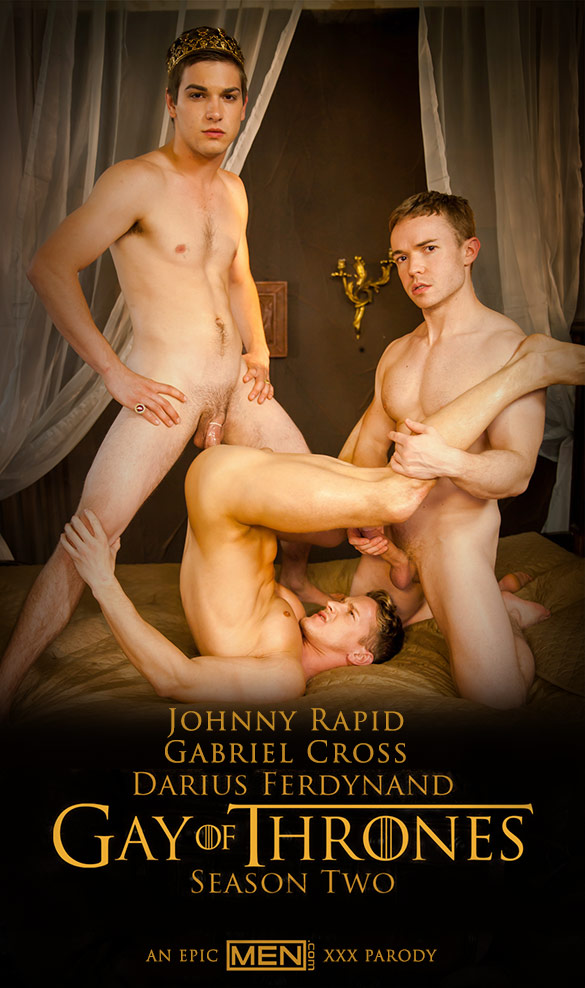 "Men.com: Darius Ferdynand and Gabriel Cross get fucked by Johnny Rapid in ""Gay of Thrones, Part 6"""