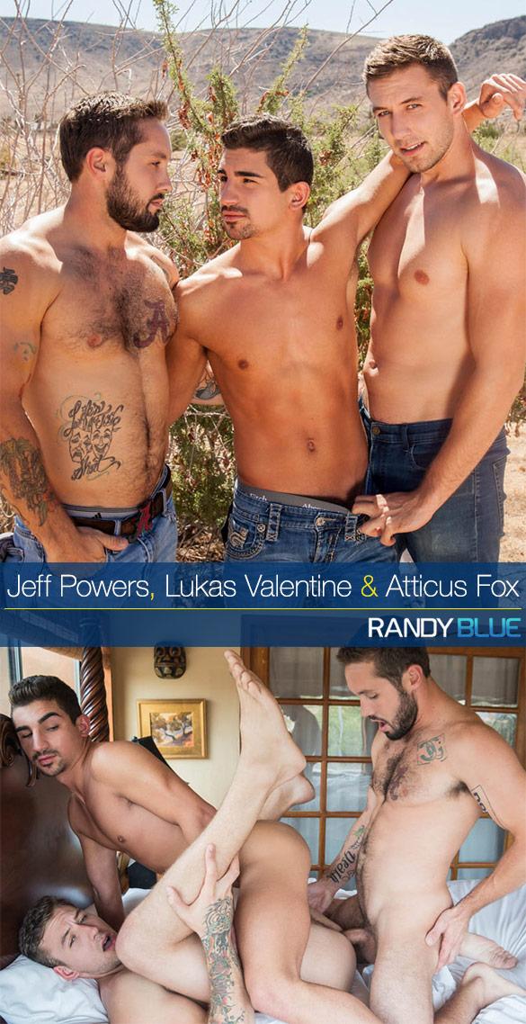 Randy Blue: Atticus Fox, Jeff Powers and Lukas Valentine's bareback threeway (Part 2)