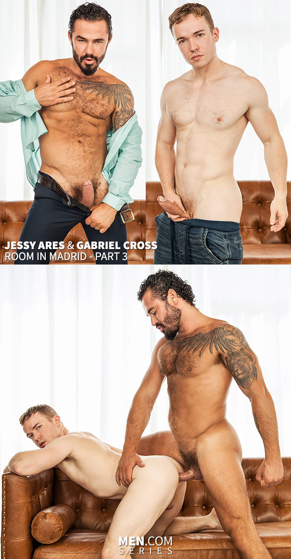 "Men.com: Jessy Ares pounds Gabriel Cross in ""Room in Madrid, Part 3"""