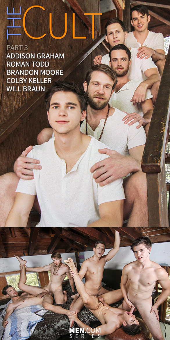 """Men.com: Colby Keller, Roman Todd and Will Braun fuck Addison Graham and Brandon Moore in """"The Cult, Part 3"""""""