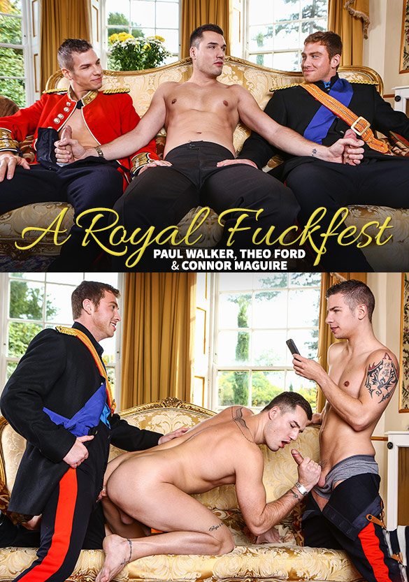 "Men.com: Paul Walker and Connor Maguire fuck Theo Ford in ""A Royal Fuckfest, Part 3"""