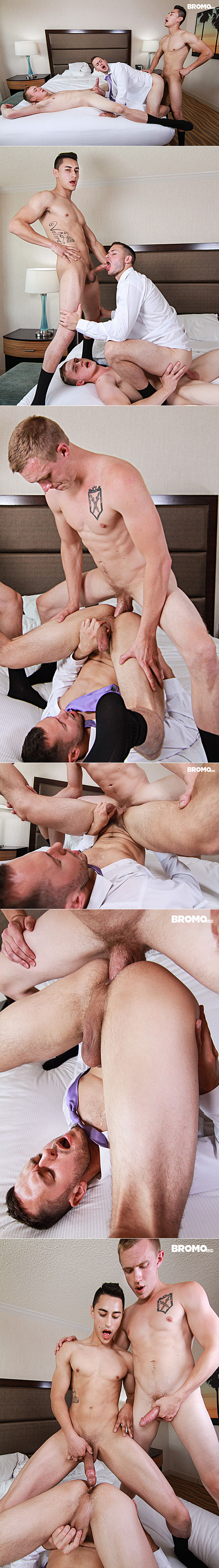 "Bromo: Brenner Bolton gets fucked raw by Zane Anders and Chandler Banks in ""The Bellboys, Part 3"""
