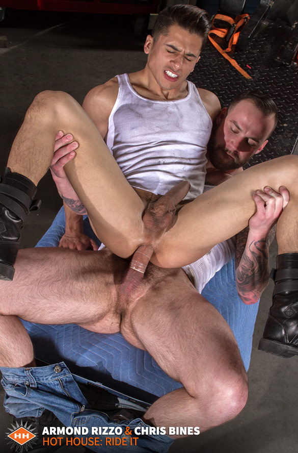 """HotHouse: Armond Rizzo gets pounded by Chris Bines in """"Ride It"""""""