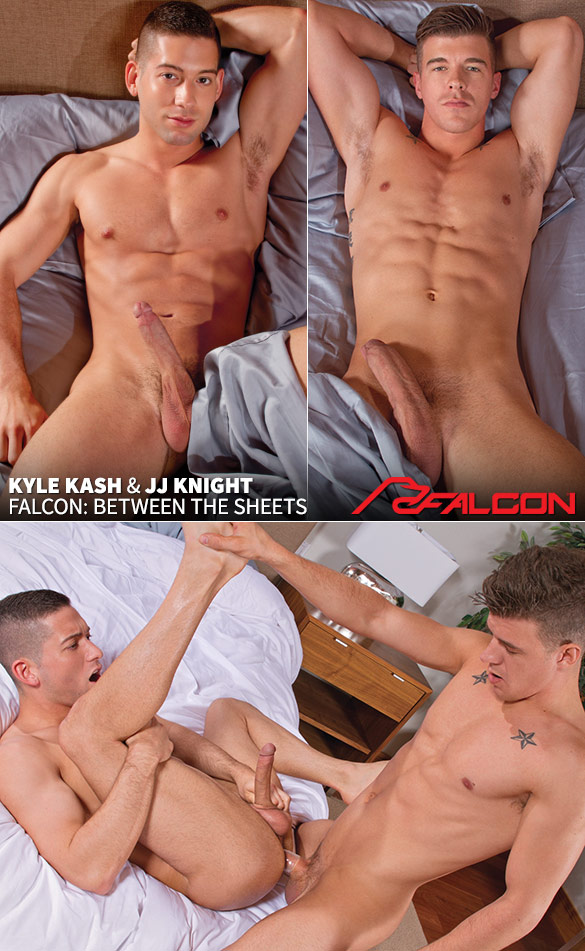 """Falcon Studios: Kyle Kash bottoms for big-dicked JJ Knight in """"Between the Sheets"""""""