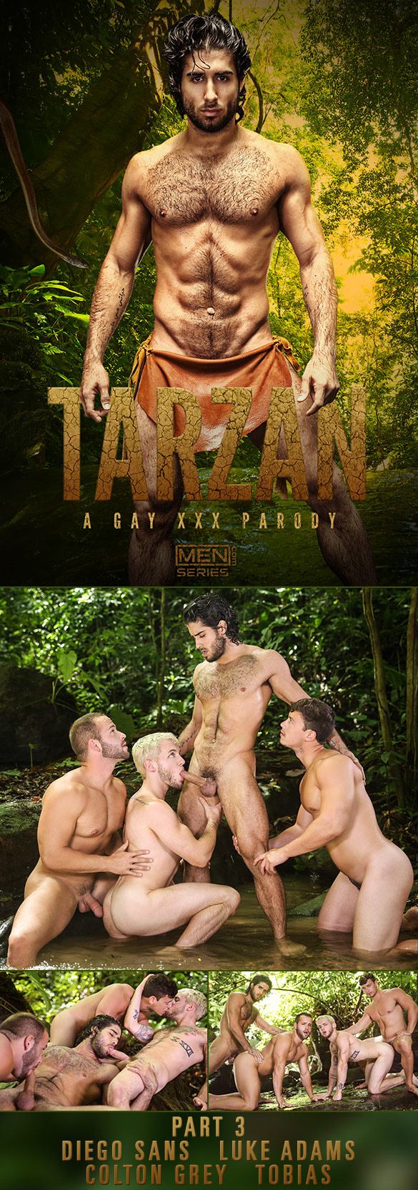 "Men.com: Diego Sans and Tobias fuck Colton Grey and Luke Adams in ""Tarzan: A Gay XXX Parody, Part 3"""