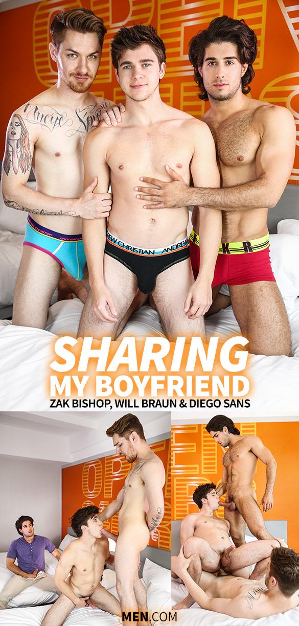 """Men.com: Diego Sans and Zak Bishop tag team Will Braun in """"Sharing My Boyfriend"""""""