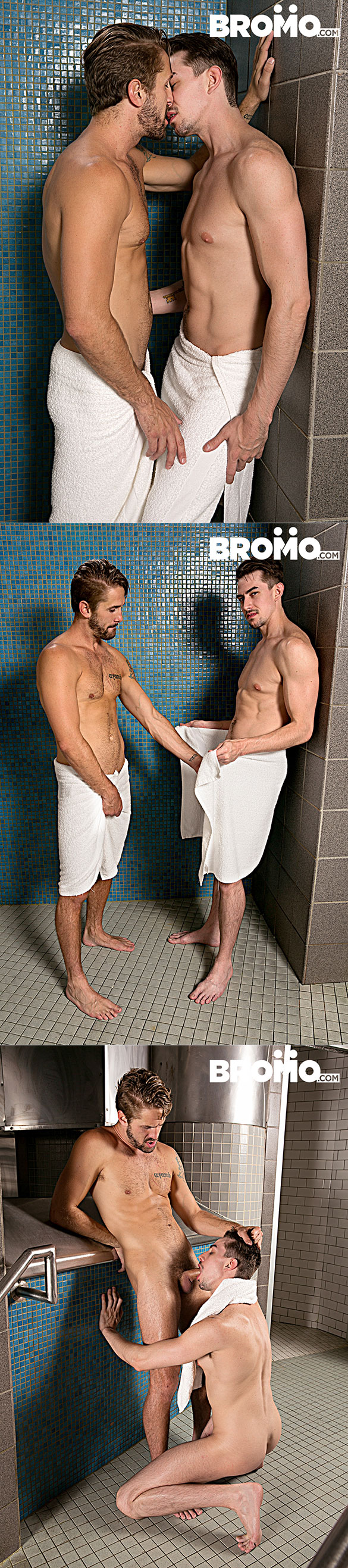 """Bromo: Wesley Woods and Jack Hunter bang each other bareback in """"The Steam Room, Part 3"""""""