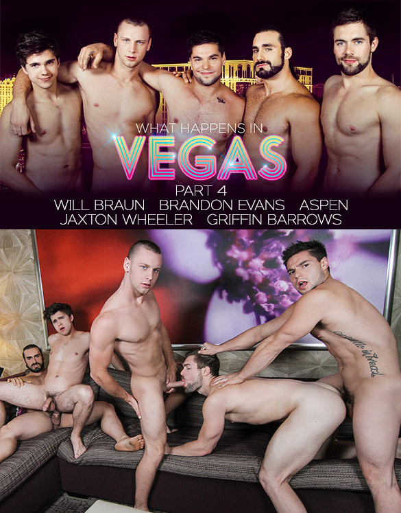 "Men.com: Aspen, Brandon Evans, Griffin Barrows, Jaxton Wheeler and Will Braun in ""What Happens in Vegas, Part 4"""