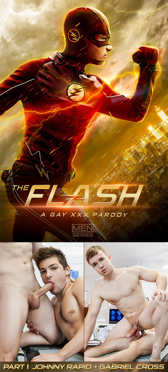 "Men.com: Johnny Rapid fucks Gabriel Cross in ""The Flash - A Gay XXX Parody, Part 1"""