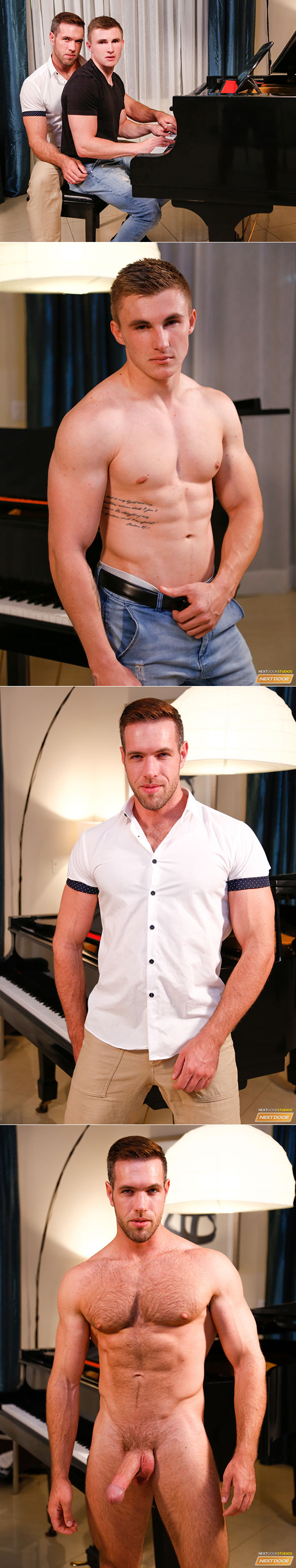 "Next Door Studios: Jake Davis takes Alex Mecum's big cock in ""The Piano Teacher"""