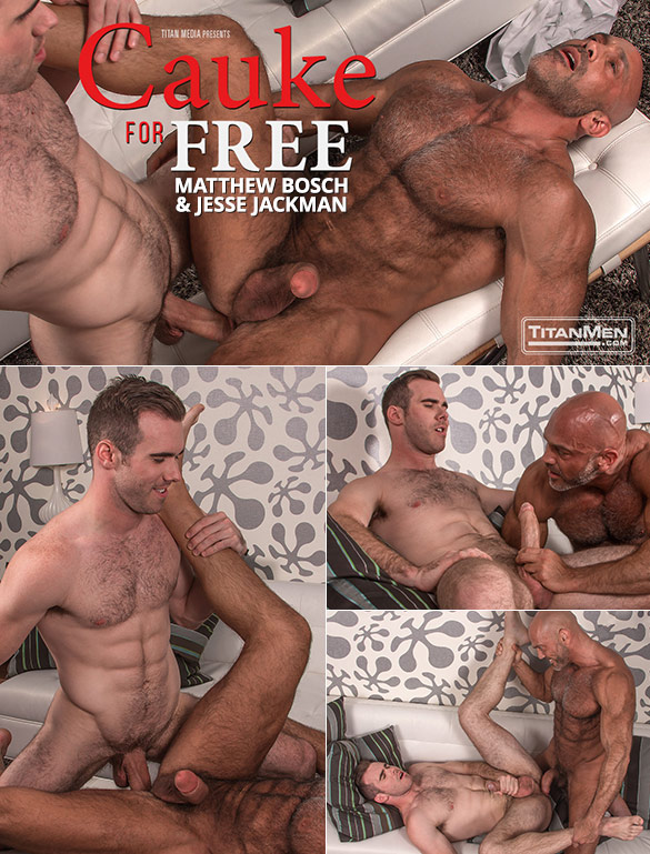 """TitanMen: Matthew Bosch and Jesse Jackman fuck each other with their massive cocks in """"Cauke for Free"""""""