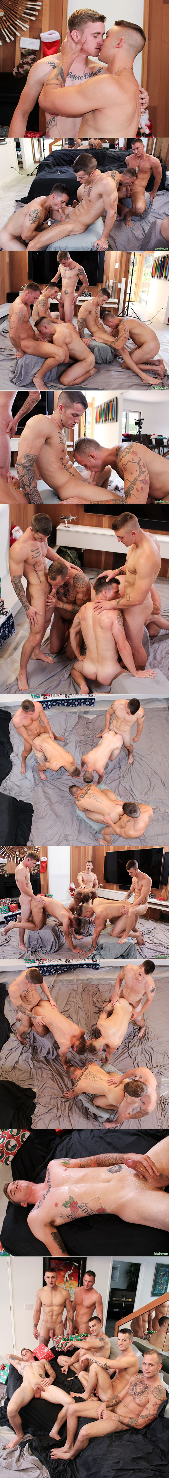Active Duty: Quentin Gainz, Craig Cameron, Ryan Jordan, Ripley, Princeton Price and Zack Matthews' raw christmas orgy