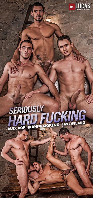 "Lucas Entertainment: Ibrahim Moreno, Alex Kof and Javi Velaro's raw threeway in ""Seriously Hard Fucking"""