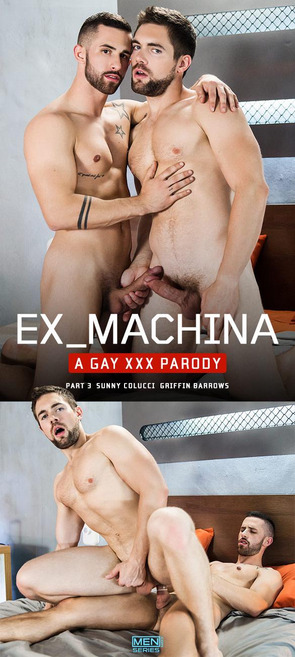"Men.com: Sunny Colucci fucks Griffin Barrows in ""Ex-Machina: A Gay XXX Parody, Part 3"""