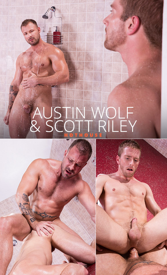 """HotHouse: Austin Wolf dominates Scott Riley's ass in """"Bathhouse Ballers"""""""