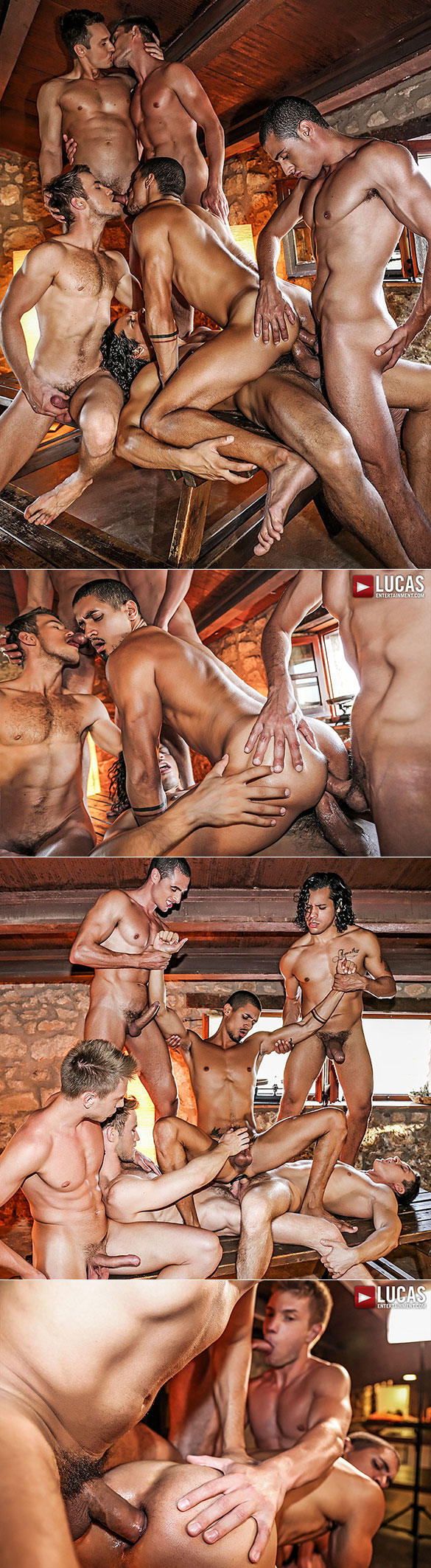 Lucas Entertainment: Ibrahim Moreno's bareback double-penetration orgy with Alejandro Castillo, Alex Kof, Bogdan Gromov, Javi Velaro and Marq Daniels