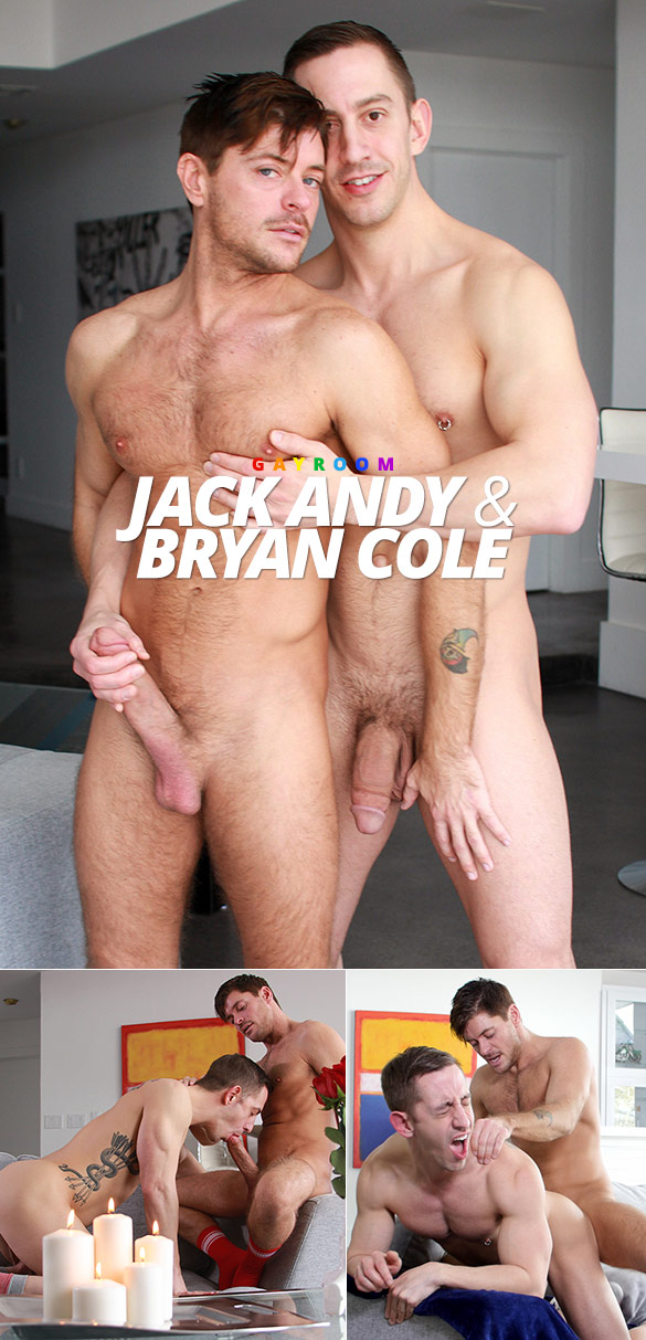 "GayRoom: Bryan Cole rides Jack Andy's thick dick in ""Strawberries with a Kiss"""