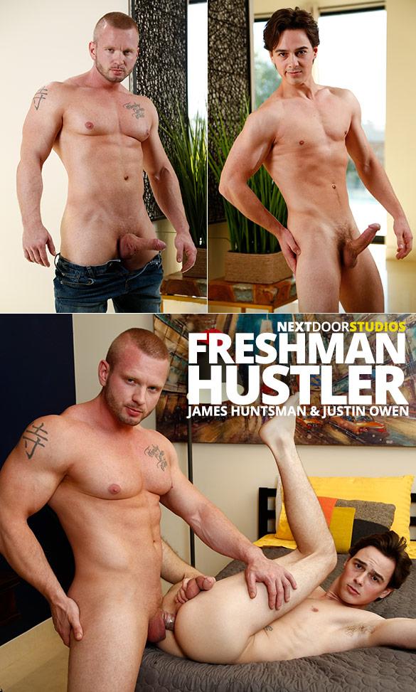 """Next Door Studios: Justin Owen bottoms for muscle hunk James Huntsman in """"Freshman Hustler"""""""