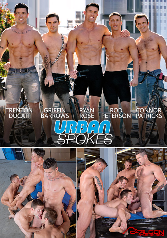 "Falcon Studios: Trenton Ducati, Connor Patricks, Ryan Rose, Rod Peterson and Griffin Barrows' hot orgy in ""Urban Spokes"""