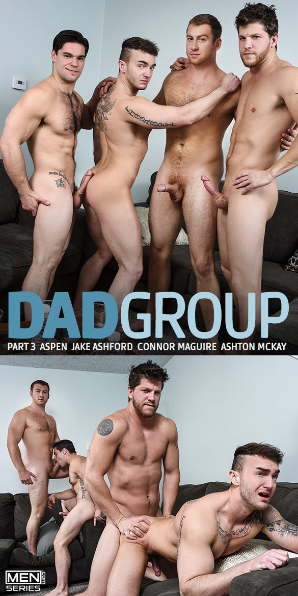 "Men.com: Jake Ashford gets fucked by Connor Maguire, Ashton McKay and Aspen in ""Dad Group, Part 3"""
