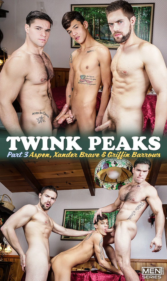 """Men.com: Griffin Barrows, Xander Brave and Aspen's threeway in """"Twink Peaks, Part 3"""""""