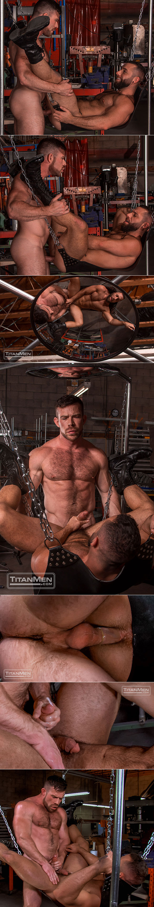 """TitanMen: Hairy muscle hunks Eddy CeeTee and Liam Knox bang each other in """"Sling"""""""