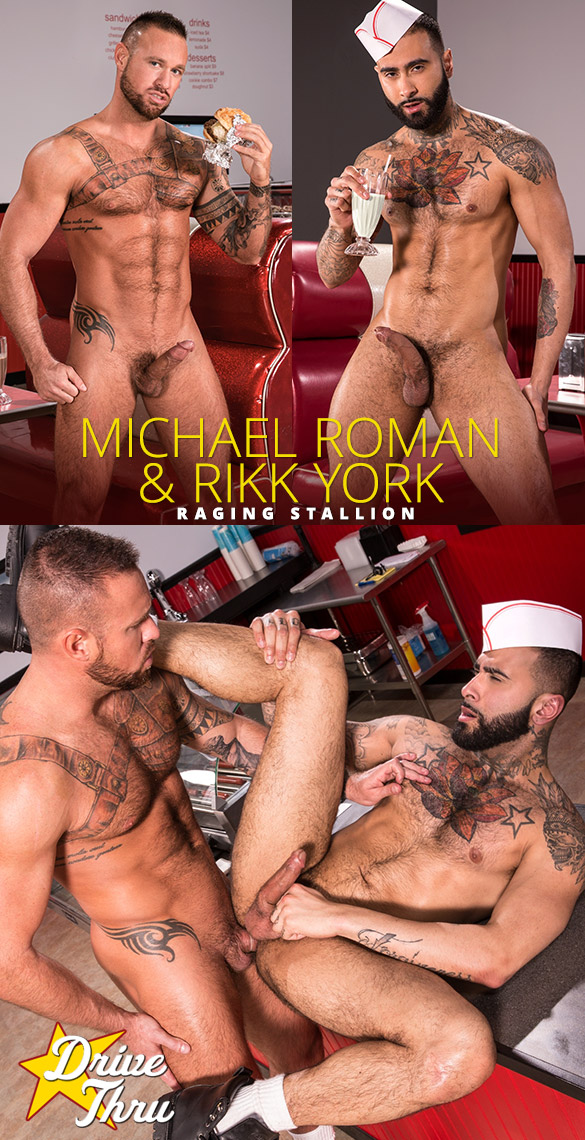 "Raging Stallion: Michael Roman bangs Rikk York in ""Drive Thru"""