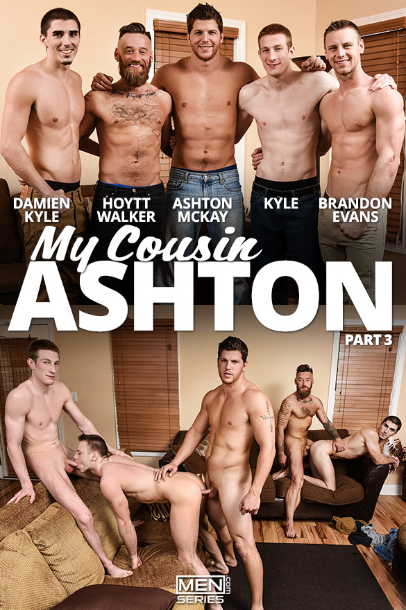 "Men.com: Brandon Evans, Ashton McKay, Damien Kyle, Hoytt Walker and Kyle's five-man orgy in ""My Cousin Ashton, Part 3"""