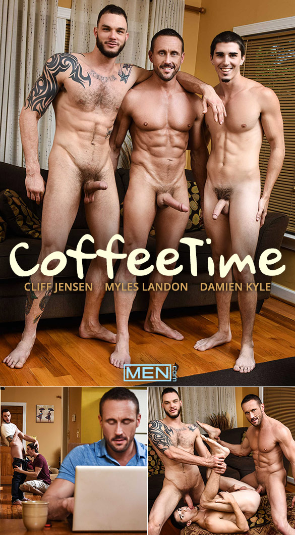 "Men.com: Damien Kyle bottoms for big-dicked Myles Landon and Cliff Jensen in ""Coffee Time"""