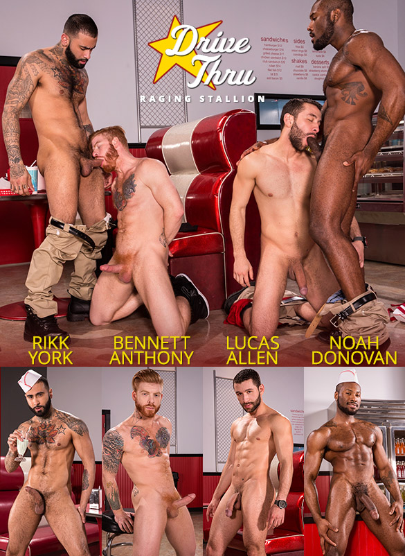"Raging Stallion: Noah Donovan, Bennett Anthony, Rikk York and Lucas Allen service each other in ""Drive Thru"""
