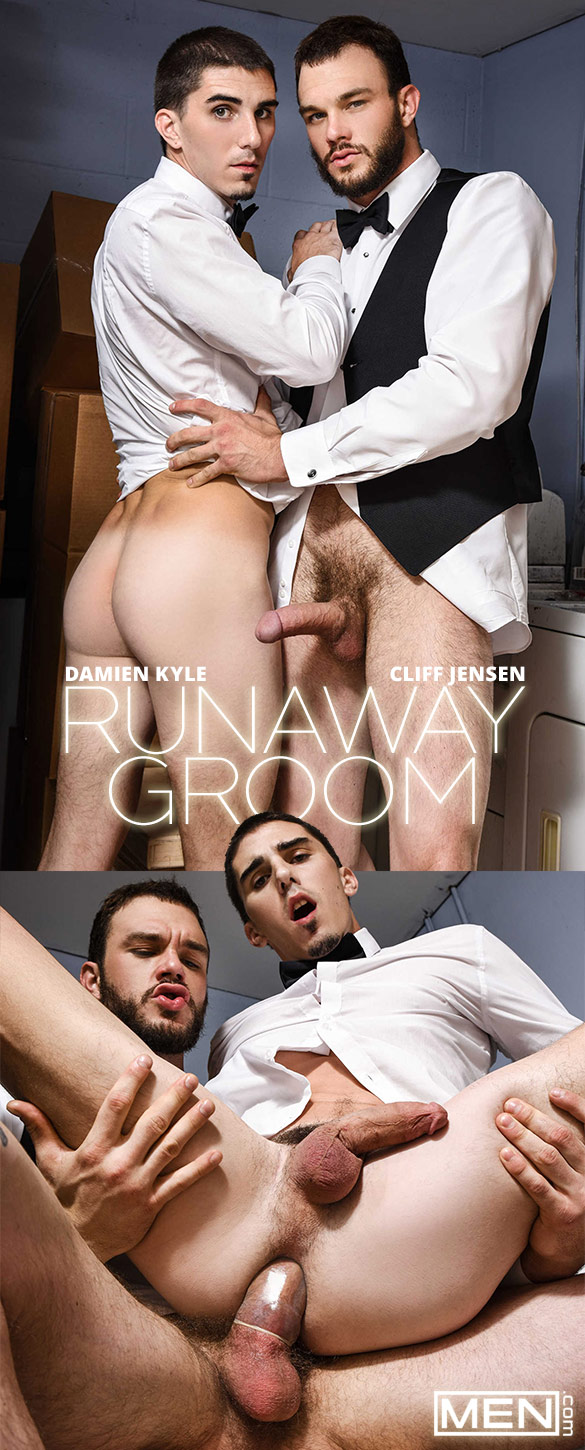 "Men.com: Damien Kyle rides Cliff Jensen's thick cock in ""Runaway Groom"""