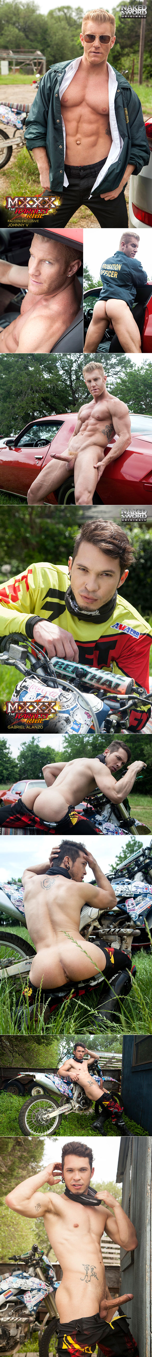 """NakedSword Originals: Johnny V pounds Gabriel Alanzo in """"MXXX - The Hardest Ride, Ep. 3: Don't Mess with Johnny Law"""""""