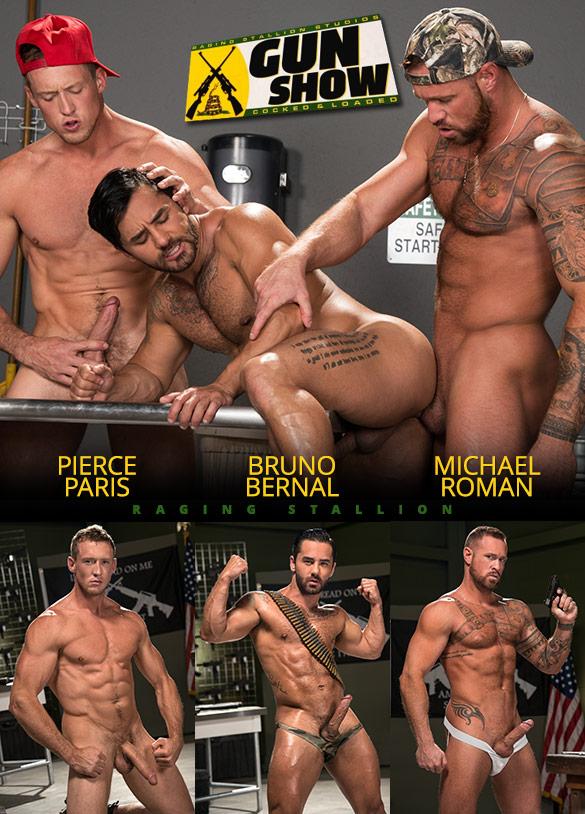"Raging Stallion: Bruno Bernal, Michael Roman and Pierce Paris' hot threeway in ""Gun Show"""