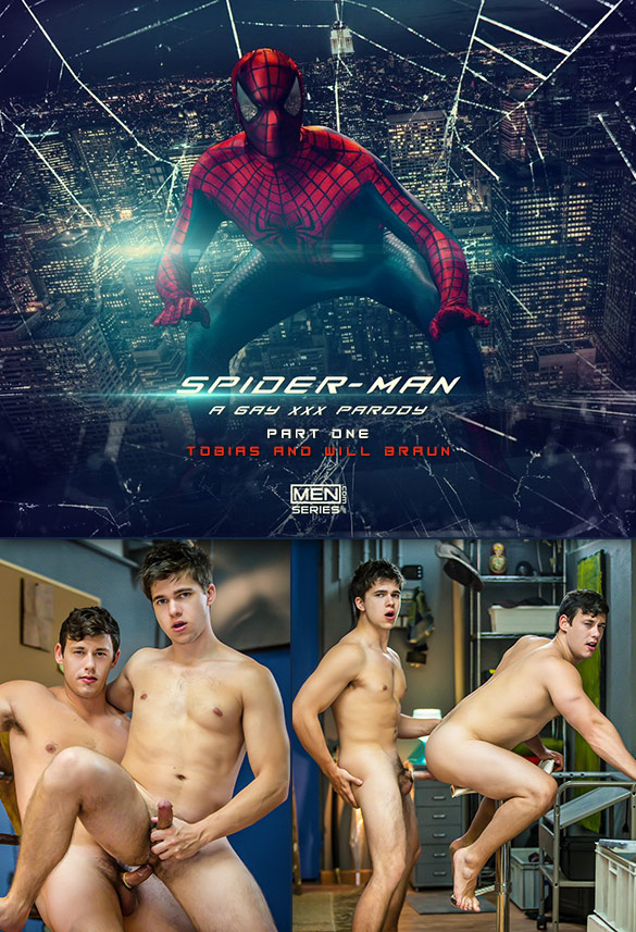 "Men.com: Will Braun and Tobias flip fuck in ""Spiderman: A Gay XXX Parody, Part 1"""