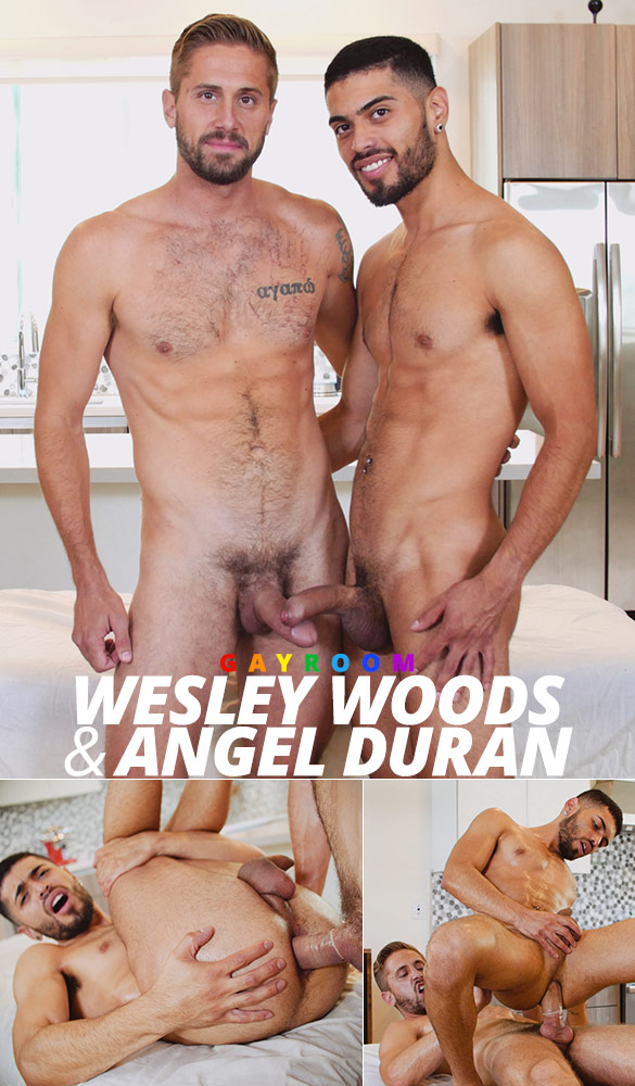 "GayRoom: Angel Duran rides Wesley Woods in ""Hard Slippery Cock"""
