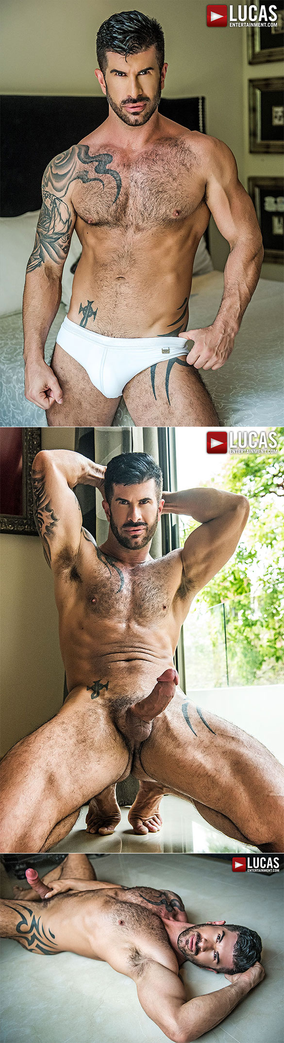"Lucas Entertainment: Alejandro Castillo and Adam Killian take turns breeding Ruslan Angelo in ""Raw Double Penetrations 06: No Holes Spared"""