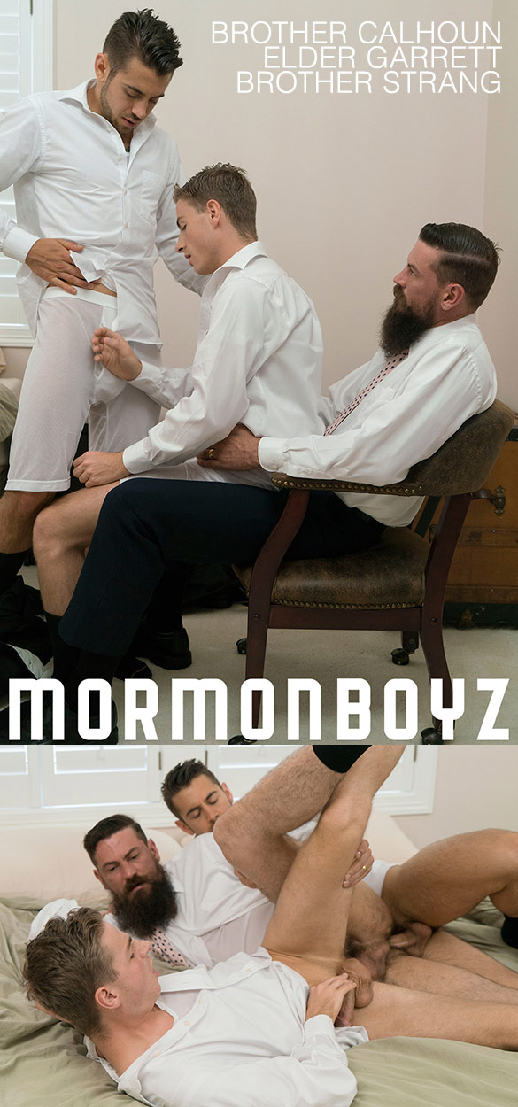 "MormonBoyz: Elder Garrett, Brother Calhoun and Brother Strang's bareback threeway in ""Brother's Oath"""