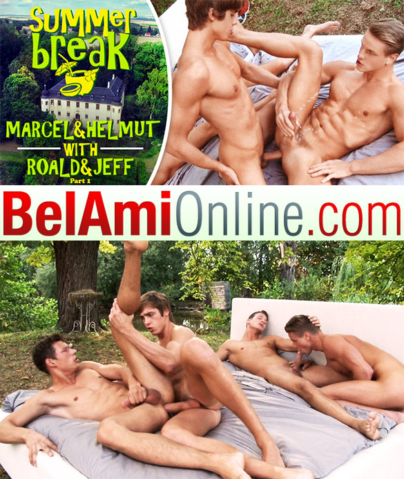 "BelAmi: Helmut Huxley fucks Roald Ekberg, Jeff Mirren and Marcel Gassion bareback in ""Summer Break, Episode 10 (Part 1)"""
