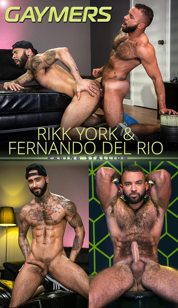 "Raging Stallion: Rikk York and Fernando Del Rio flip fuck in ""Gaymers"""