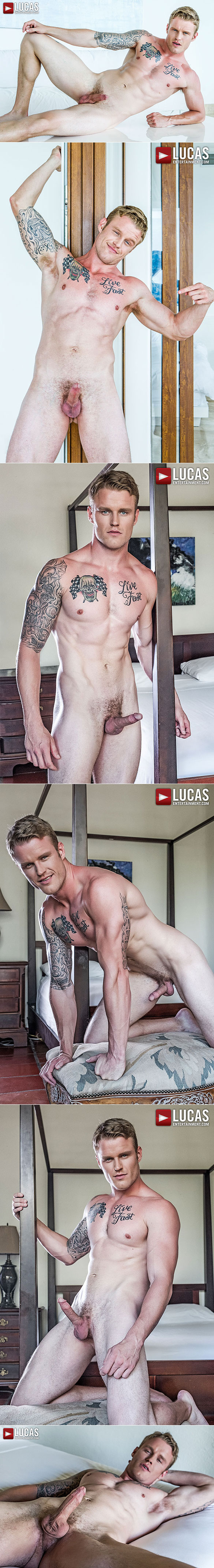"""Lucas Entertainment: Shawn Reeve rides muscle daddy Tomas Brand bareback in """"Bottom Boy Bitches"""""""