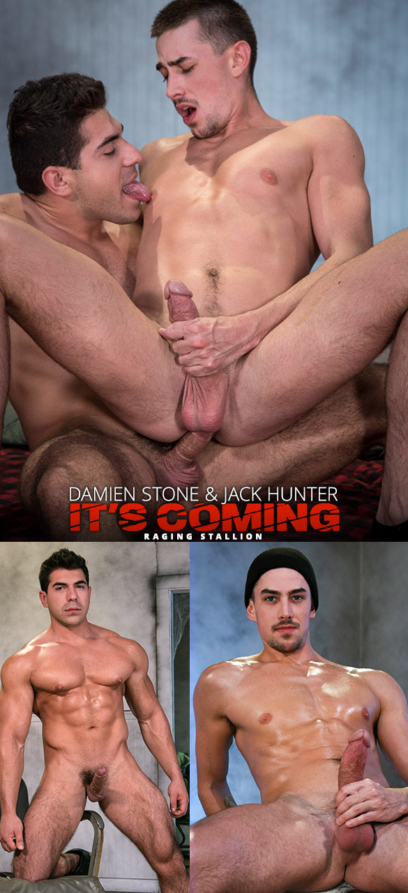 "Raging Stallion: Damien Stone bangs Jack Hunter in ""It's Coming"""