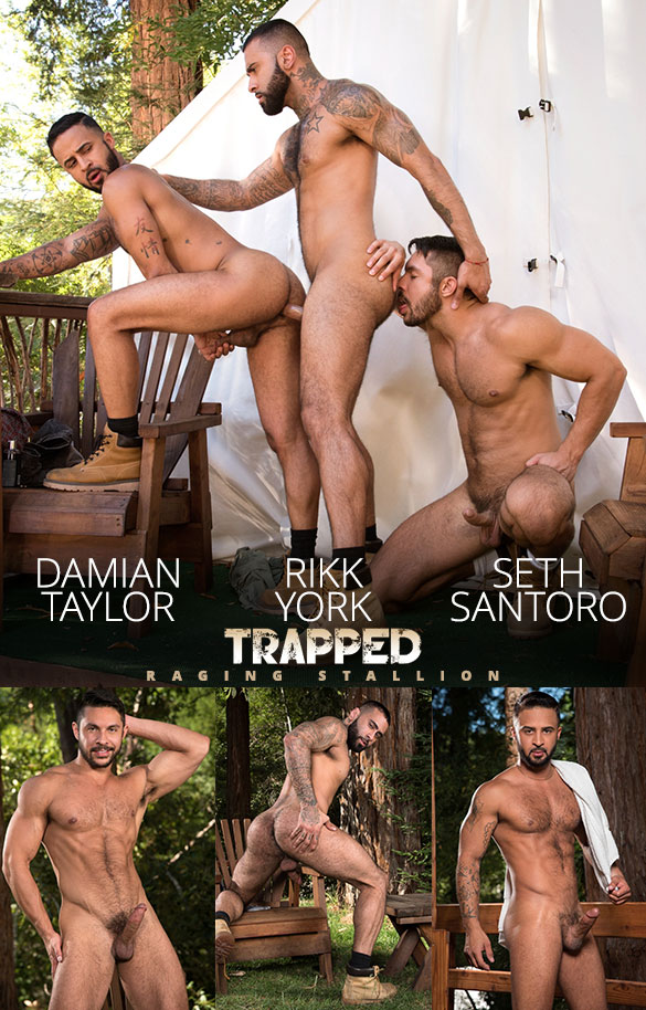 "Raging Stallion: Seth Santoro, Rikk York and Damian Taylor's hot threesome in ""Trapped"""