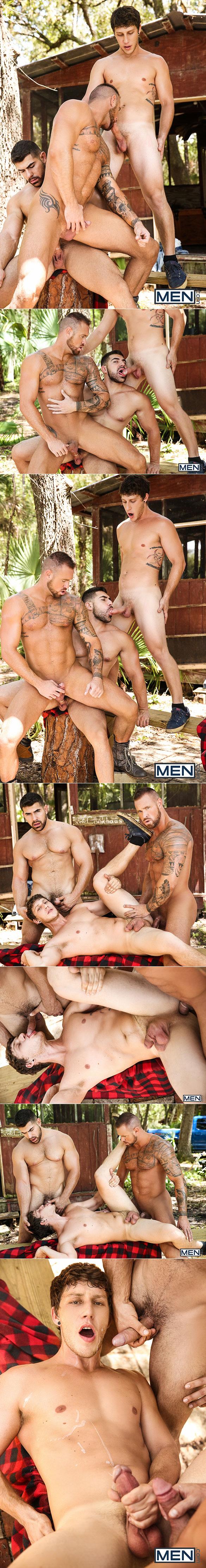 "Men.com: Damien Stone, Michael Roman and Paul Canon's hot threeway fuck in ""The Bayou, Part 3"""
