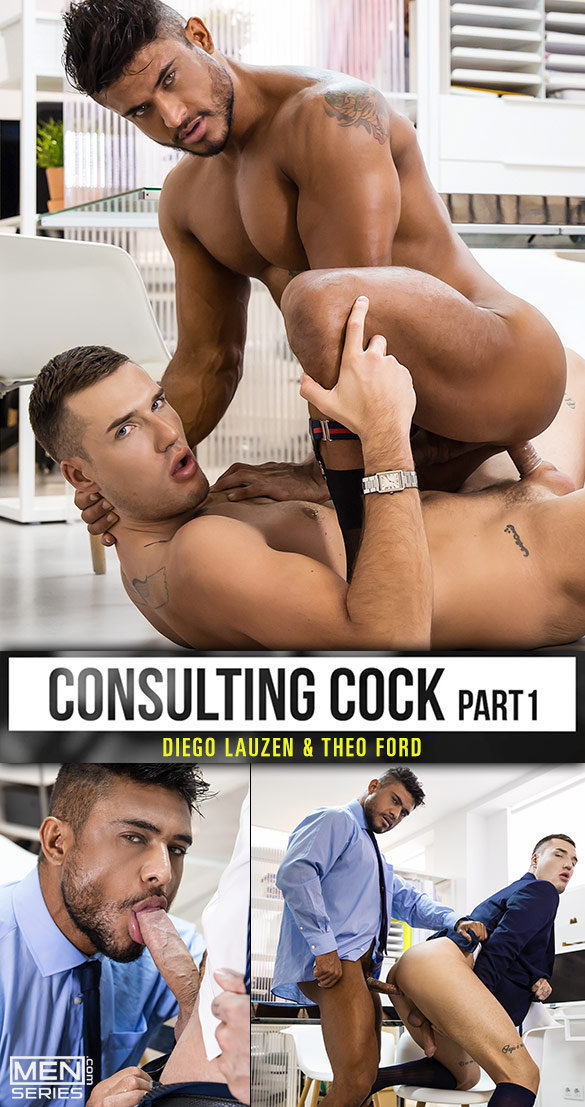 """Men.com: Diego Lauzen and Theo Ford flip fuck in """"Consulting Cock, Part 1"""""""