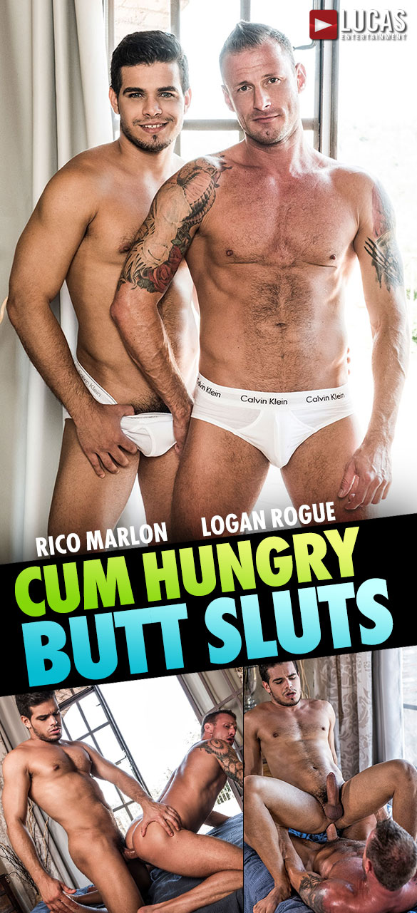 """Lucas Entertainment: Rico Marlon and Logan Rogue bang each other raw in """"Cum Hungry Butt Sluts"""""""