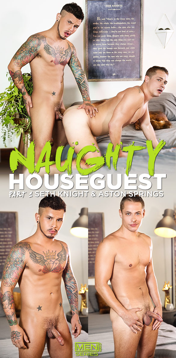 """Men.com: Seth Knight tops Aston Springs in """"Naughty Houseguest, Part 1"""""""